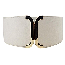 Female Brief Wide Belt Decoration Elastic Cummerbund Strap Dress Accessories BG- Beige