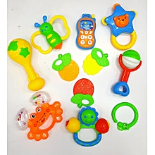 10pcs Baby hand Shakers rattles and teether set Colourful
