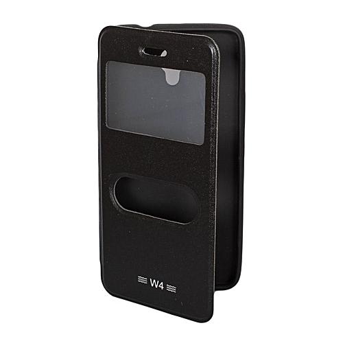 Double Window Tecno W4- Flip Cover - Black