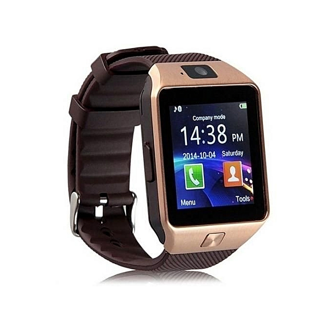 Digital DZ09 Smart Watch Phone for Android and Apple - Gold Brown