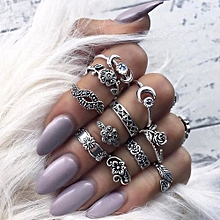 Olivaren 11pcs/Set Women Bohemian Vintage Silver Stack Rings Above Knuckle Blue Rings Set -Silver