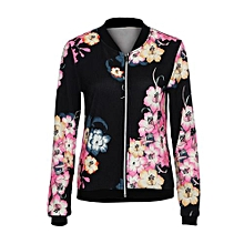 Womens Ladies Biker Celeb Camo Flower FLoral Print Zipper Up Bomber Jacket