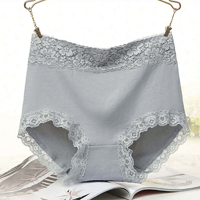 e9a06acd10 New lace side high waist underwear women comfortable cotton large size  briefs-deep grey