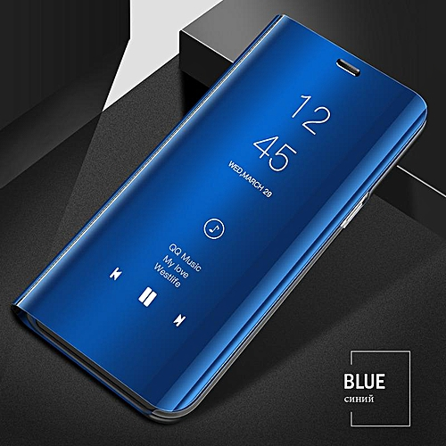 best sneakers ef267 37549 Luxury Smart Clear View Mirror Case For Samsung Galaxy A6+ 2018 Cover  Leather Flip Case For Samsung Galaxy A6 PLUS Stand Phone Cases (blue)