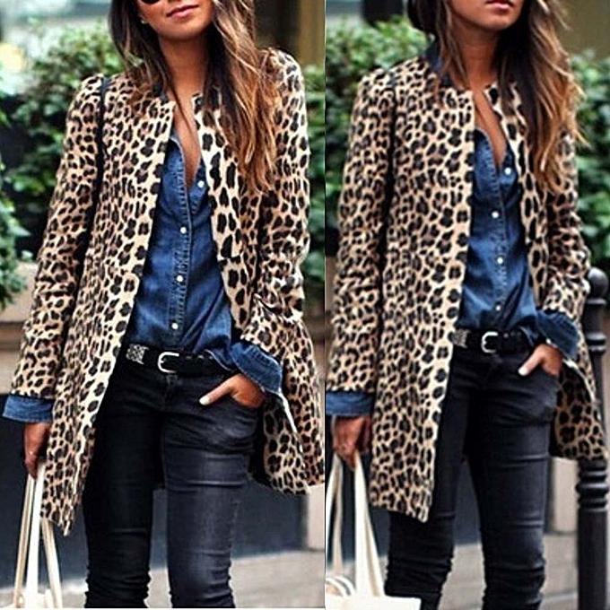 2da62df9e Fashion jiuhap store Women Leopard Sexy Winter Warm New Wind Coat ...