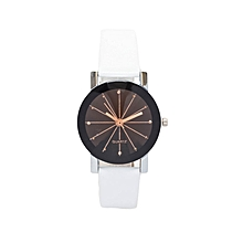 White PU Leather Strap Women's Watch.