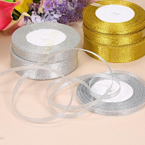 25 Yards/Roll 6mm/12mm/25mm Width Gold Silver Glitter Ribbon Luster Silk  Satin Ribbon Wedding Party Decoration DIY Webbing Invitation Card Gift