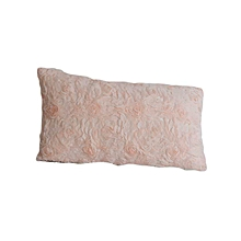 Rose Pattern Decorative Pillow - Small - Peach