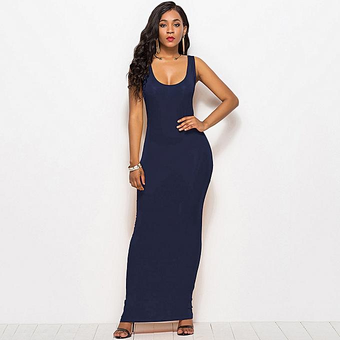 New Sexy Women Dress High Stretch Tank Robe Summer Solid Dress O-neck Sleeveless  Slim 94413d02a