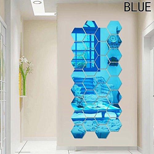 Hequeen Set Geometric Hexagon 3d Art Mirror Wall Sticker Decal Home Diy Decor