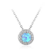 Simple Round Blue Created Opal 925 Sterling Silver CZ Necklace