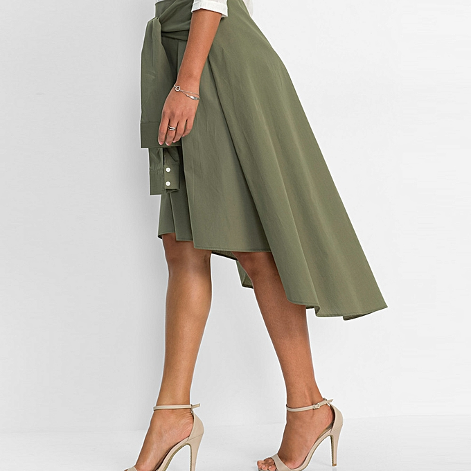 df02eb684b jiahsyc store Women Flared Knee Length Skater Skirt Ladies Casual Mini  Office Work Skirt-Green