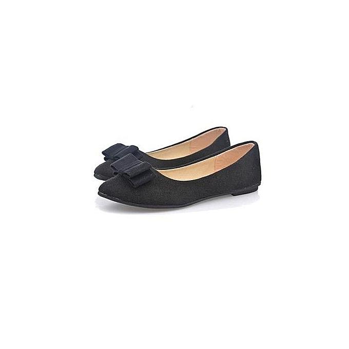 Women Ballet Shoes Work Flats Bow Tie Slip Shoes Boat Comfortable Shoes  -Black (EU fa60ab8d0c