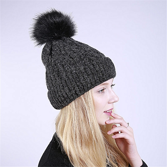 singedanLadies Pom Pom Hat Women Winter Cap Cosy Beanie Warm Hat Fluffy  Bulb -Black 371440a140a
