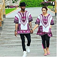 WHITE-PURPLE UNISEX DASHIKI T-SHIRTS