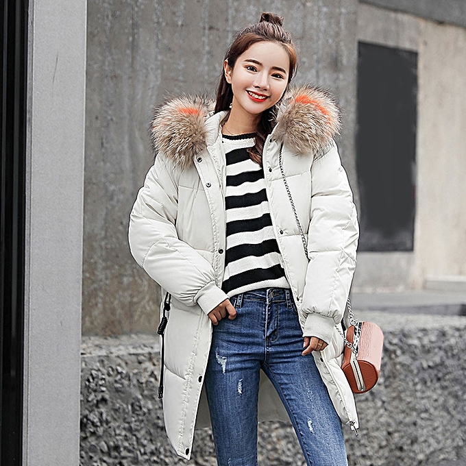 af092576b jiuhap store Women Winter Warm Coat Faux Fur Hooded Thick Warm Slim Jacket  Long Overcoat-White
