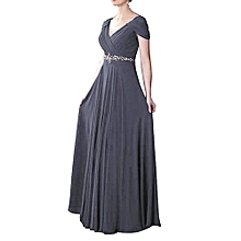 Women Sexy Lace Up Belt Evening Dress - Gray