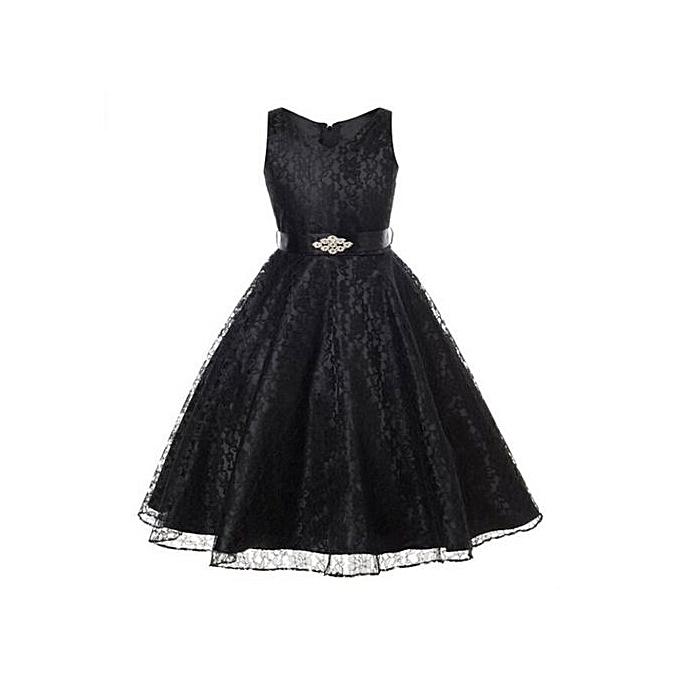 3353769fd Elegant Kids Summer Dress Girls Sleeveless Dress Skirt + Diamond Studded  Belt Girls Wedding Dress