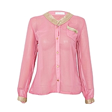 Light Pink Chiffon Top With Gold Embellishment On The Neck And Hand