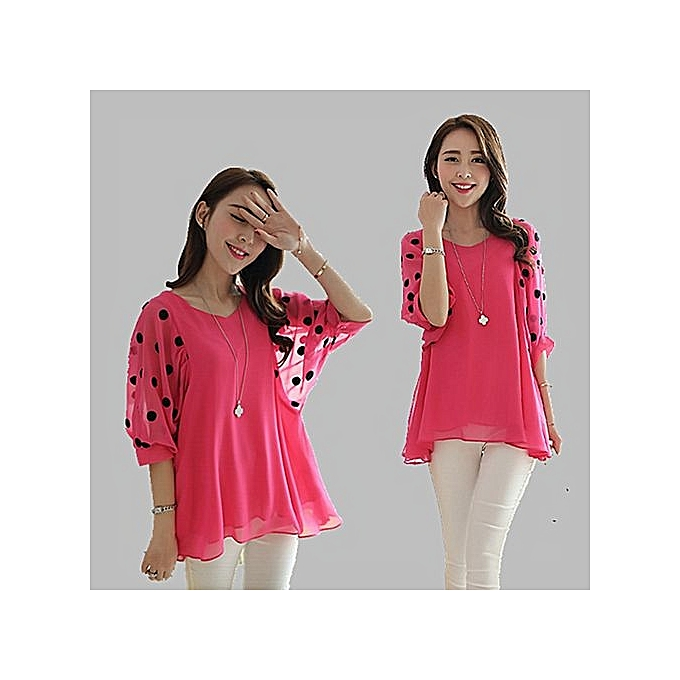 5c74d00a57c8a BlueLife Plus Size Chiffon Blouse Half Sleeve Casual Loose Tops -Rose Red    Best Price