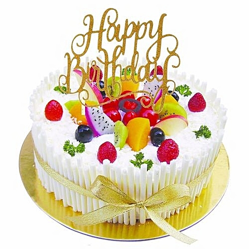UNIVERSAL Cake Topper Happy Birthday Party Supplies Decorations Kids Rose Silver
