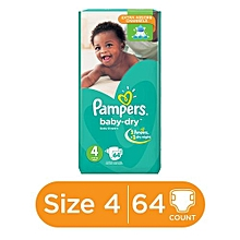 Baby Dry Diapers with Extra Absorb Channels (7-18kg) - Size 4 (64 Count)