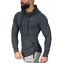 men's long-sleeved hooded sweater cotton sweatshirts elasticity gym clothes sport coats