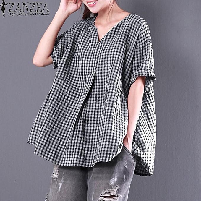 559dc47927593 ZANZEA Summer Women V Neck Short Sleeve Check Plaid Loose Blouse Pleated  Cotton Linen Flouncing Work