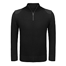 Men's Stand Collar Zipper Patchwork Casual Knitted Pullover Sweater-Black