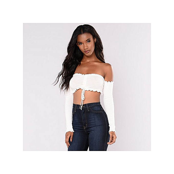 ee3f2508b9d Hiaojbk Store Womens Sexy Off Shoulder Long Sleeves Crop Top Vest Tank Shirt  Blouse Cami Top