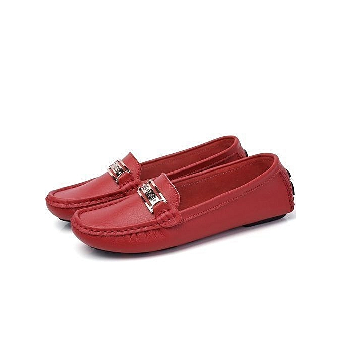 c1539398459ff Women's Casual Loafers Genuine Leather Driving Moccasins Slip-On Flat Shoes -red