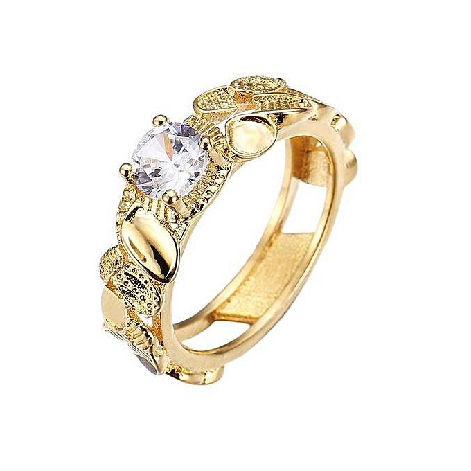 53dae7a2843 Eleganya Fashion 18K Gold Rings Filled Lovers Engagement Wedding Shiny CZ Diamond  Ring Size 6
