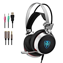 Cosonic M03 PC Gaming Headset with Mic, 7.1 Surround Sound Earphones with 50mm Driver, 3.5mm Wired Over-The-Ear Headphones with Noise Cancelling, USB LED Light for PS4 Xbox One Laptops