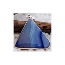 Blue  Lace Agate Semi Precious Gemstone in 925' Sterling Silver Pendant