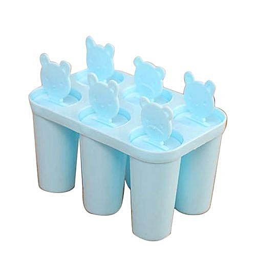 Bear Shape DIY 6 Cell Popsicle Maker Lolly Mould Tray - Blue