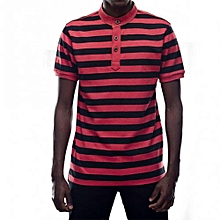 Black / Red Mens Striped Mandarin Collar T-shirts