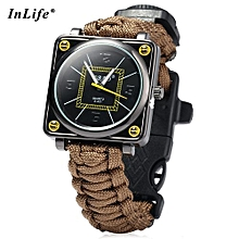 Inlife Outdoor Suvival Paracord Watch With Fire Starter Compass Whistle Rescue Bracelet-KHAKI