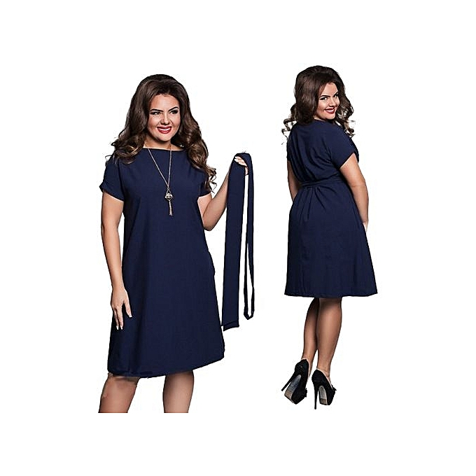 Buy Fashion Refined Elevated Size Dress Fashion Short Sleeve With A