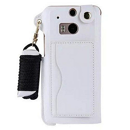 promo code bdfb8 3a77e Top Quality Leather Case For HTC One M8 Mobile Phone Bag WalletStand With  Card Holder Cover(White)