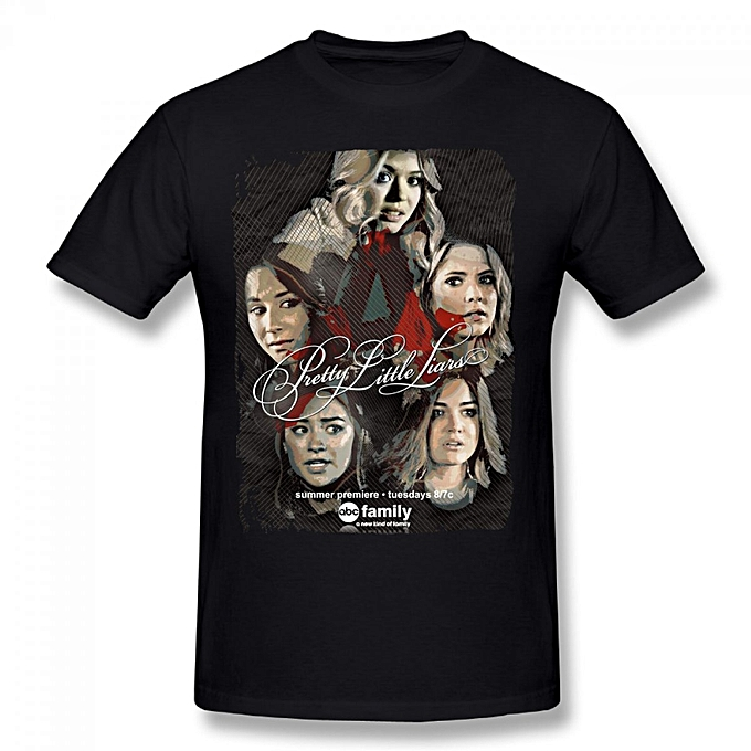 Pretty Little Liars Season 6 Premiere Men's Cotton Short Sleeve Print  T-shirt Black