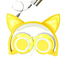 Olivaren Foldable Cat Ear LED Music Lights USB Charger Headphone Earphone Headset YE - Yellow