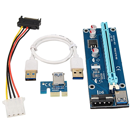 USB 3 0 PCI-E Express 1x to 16x Riser Board Extender Adapter Card with SATA  Cable
