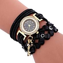 Olivaren Fashion Chimes Diamond Leather Bracelet Lady Womans Wrist Watch -Black