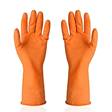 Kitchen Rubber Cleaning Gloves Reusable Household Waterproof Washing Gloves Orange  M