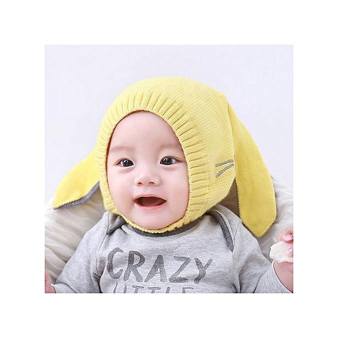f8b1f4c9763 Baby Beanie For Boys Girls Cap Cotton Rabbit Ear Knitted Children Hats  -Yellow