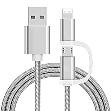 2 IN 1 USB Charging Cable 1M For Apple / Android Nylon Woven E-Thinker -Sliver