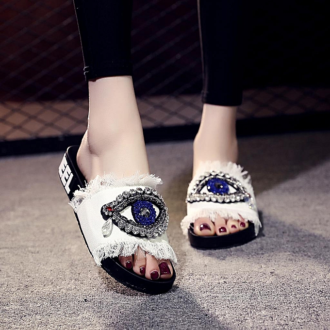 0861a6c05 shioakp Summer Spring Women Ladies Girls Crystal Flat Sandals Slippers  Beach Shoes-White