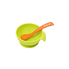 Feed-Me Silicon Weaning Bowl & Spoon Set - Orange & Lime