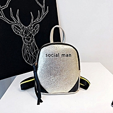 Laser Color PU Leather Double Shoulders Backpack School Bag