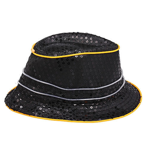 c42a235a047bf Generic Cool Bling Sequins LED Light up Glowing Hip Hop Jazz Hat Cowboy Cap  Flashing Party Halloween Supplies